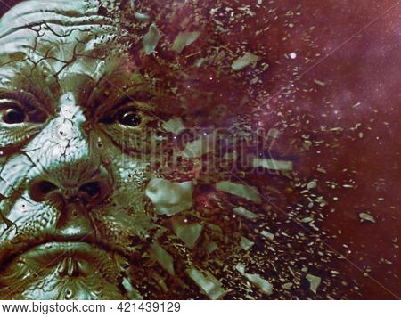 Man's face shattering to pieces. An artist's mind. 3D rendering