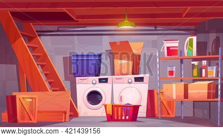 Laundry In Basement, Home Cellar Interior With Washing And Dryer Machines, Detergents On Shelves, Ba
