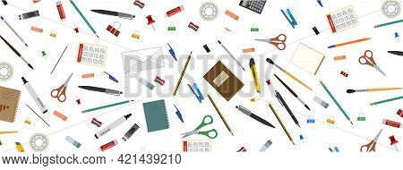 Stationery. Horizontal Background For Advertising A Store, Company. Illustration. Isolated On A Whit