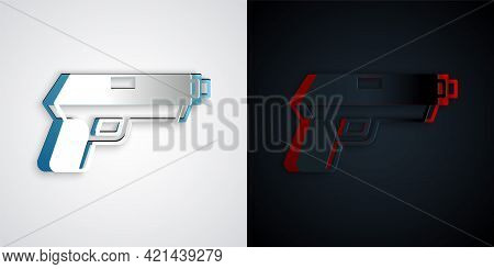 Paper Cut Pistol Or Gun Icon Isolated On Grey And Black Background. Police Or Military Handgun. Smal