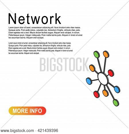 Hub Isometric Network Icon, Connect Structure Vector Symbol Isolated On Color Background, Technology