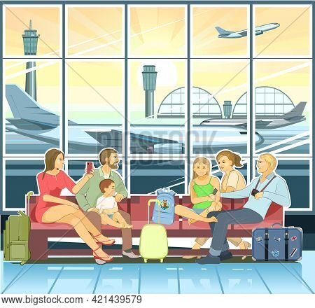 Friends At The Airport. Two Families With Children Go On A Trip. Happy Smiles. Terminal Waiting Room