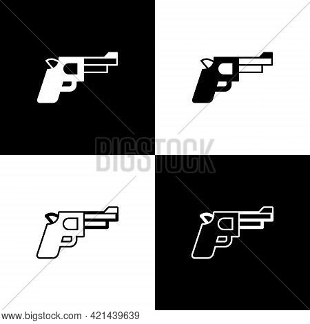 Set Pistol Or Gun Icon Isolated On Black And White Background. Police Or Military Handgun. Small Fir