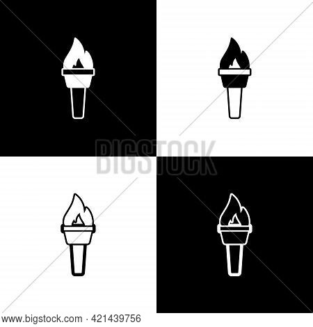 Set Torch Flame Icon Isolated On Black And White Background. Symbol Fire Hot, Flame Power, Flaming A