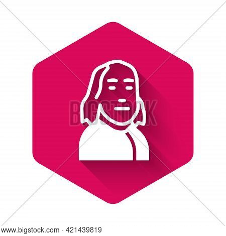 White Benjamin Franklin Icon Isolated With Long Shadow Background. Pink Hexagon Button. Vector