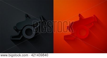 Paper Cut Cannon Icon Isolated On Black And Red Background. Paper Art Style. Vector