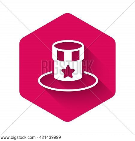 White Patriotic American Top Hat Icon Isolated With Long Shadow Background. Uncle Sam Hat. American