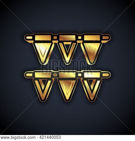 Gold Carnival Garland With Flags Icon Isolated On Black Background. Party Pennants For Birthday Cele
