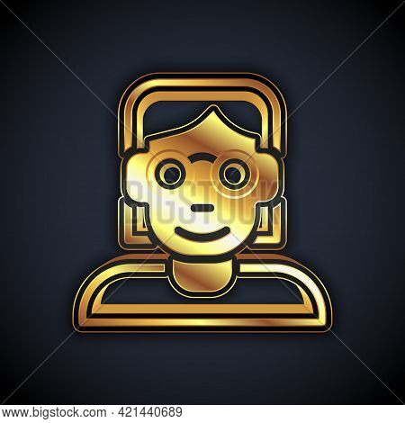 Gold Hacker Or Coder Icon Isolated On Black Background. Programmer Developer Working On Code, Coding