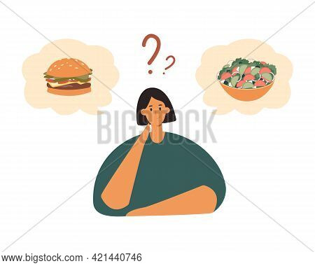 Fat Female Character Choosing Between Healthy And Unhealthy Food.good Or Bad Diet, Obesity, Weight P