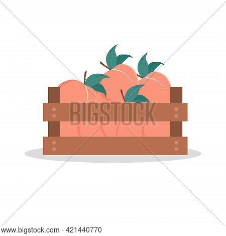 Wooden Box Full Of Peach. Vector Illustration