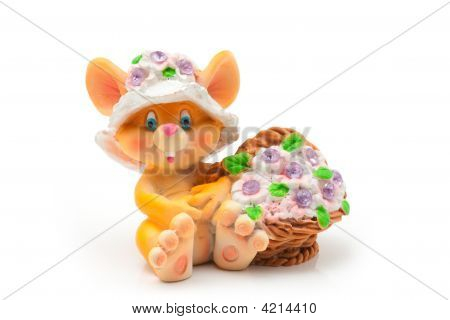 Sitting mouse with basket of flowers isolated on white background poster