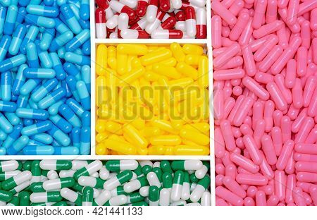 Capsule Pills In Plastic Tray. Vitamins And Supplements Concept. Antibiotic Drug Selection. Pills Ca