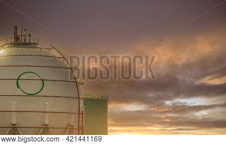 Industrial Gas Storage Tank. Lng Or Liquefied Natural Gas Reservoirs Tank. Round Or Ball Gas Tank In