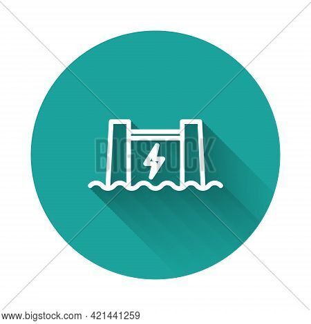 White Line Hydroelectric Dam Icon Isolated With Long Shadow Background. Water Energy Plant. Hydropow