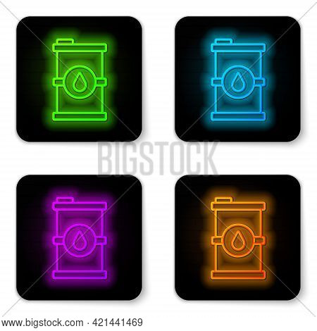 Glowing Neon Line Bio Fuel Barrel Icon Isolated On White Background. Eco Bio And Canister. Green Env