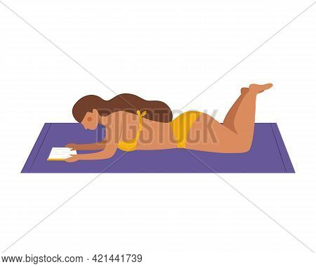 Reading A Book At The Beach. Woman In Bikini Lying Down And Reading Book Isolated On White Backgroun