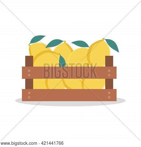 Wooden Box Full Of Lemons. Vector Illustration