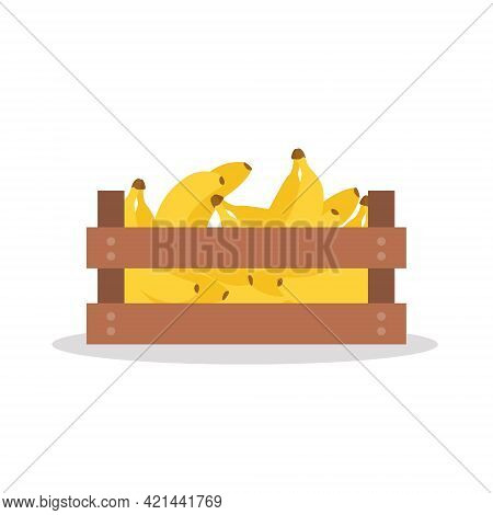 Wooden Box Full Of Banana. Vector Illustration