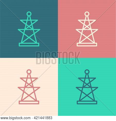 Pop Art Line Electric Tower Used To Support An Overhead Power Line Icon Isolated On Color Background