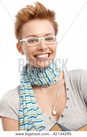 Closeup portrait of happy young woman in white frame glasses.