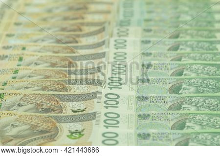 Polish Money, Pln 100 And 200 Pln. Layout Of Large Bills Of Money. Photo Of Polish Banknotes, Zloty