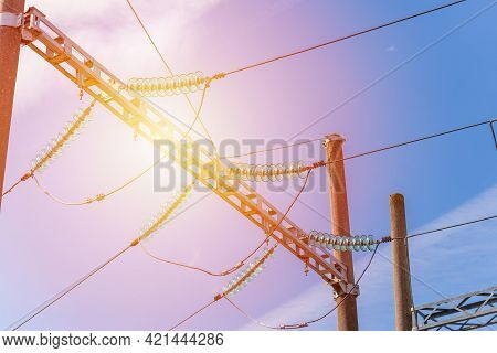 High Voltage Electric Substation With Transformers.high Voltage Switchgear Equipment On A Blue Sky.