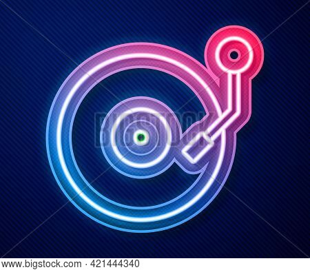 Glowing Neon Line Vinyl Player With A Vinyl Disk Icon Isolated On Blue Background. Vector