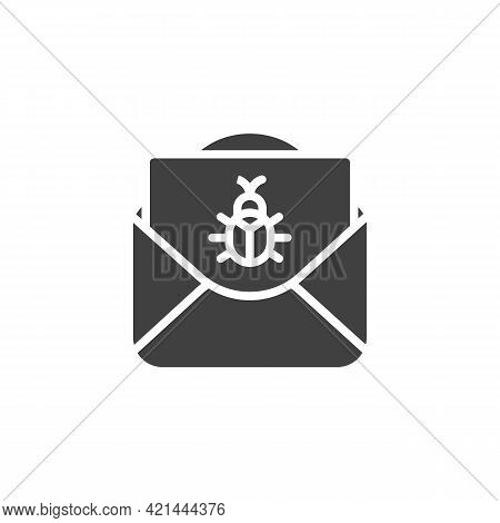 Spam Message Vector Icon. Envelope With Bug Filled Flat Sign For Mobile Concept And Web Design. Viru