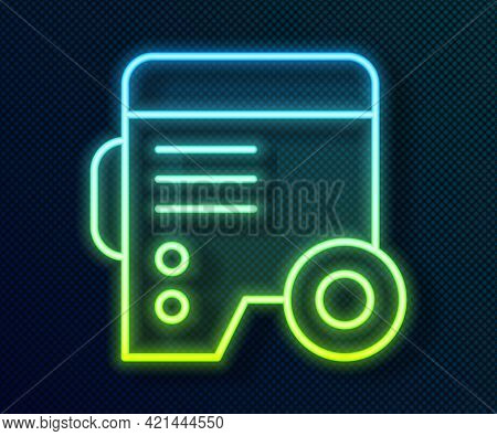 Glowing Neon Line Portable Power Electric Generator Icon Isolated On Black Background. Industrial An