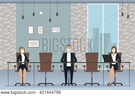 White Collars In Masks Working In Office. Vector Illustration.