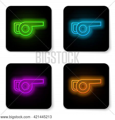 Glowing Neon Line Leaf Garden Blower Icon Isolated On White Background. Black Square Button. Vector