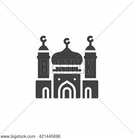 Mosque Building Vector Icon. Filled Flat Sign For Mobile Concept And Web Design. Islamic Mosque Glyp