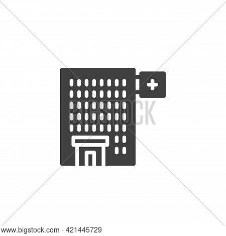 Hospital Building Vector Icon. Filled Flat Sign For Mobile Concept And Web Design. Medical Hospital