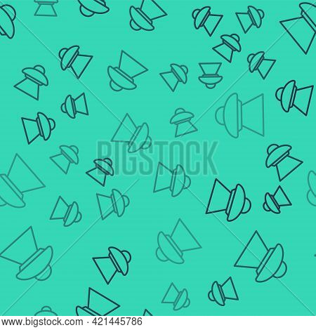 Black Line Ufo Flying Spaceship Icon Isolated Seamless Pattern On Green Background. Flying Saucer. A