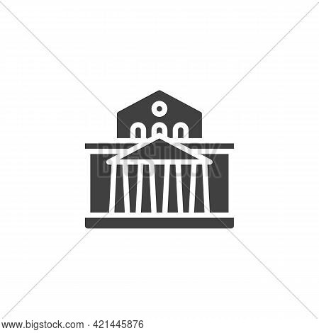 Theatre Building Vector Icon. Filled Flat Sign For Mobile Concept And Web Design. Theatre Palace Gly