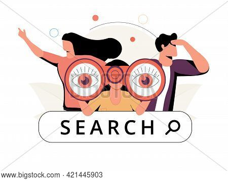 Curious Man Looking Through Binoculars. Business Metaphore For Search Or Research, Development, Web