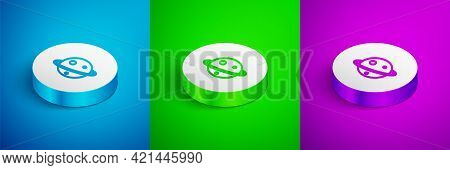 Isometric Line Planet Saturn With Planetary Ring System Icon Isolated On Blue, Green And Purple Back