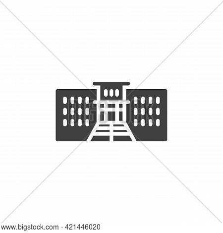 School, Academy Vector Icon. Filled Flat Sign For Mobile Concept And Web Design. High School Buildin