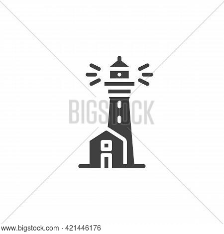 Lighthouse Tower Vector Icon. Filled Flat Sign For Mobile Concept And Web Design. Beacon, Lighthouse