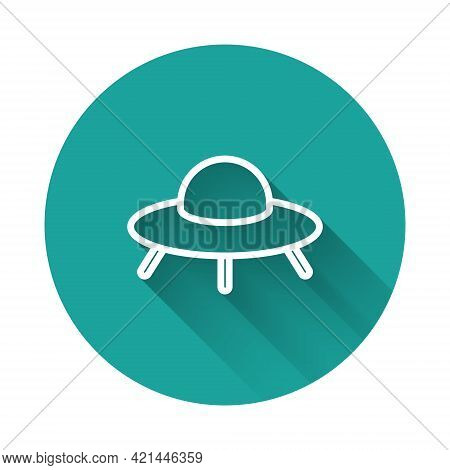 White Line Ufo Flying Spaceship Icon Isolated With Long Shadow Background. Flying Saucer. Alien Spac