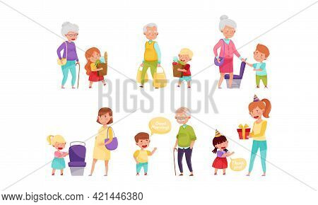 Little Boy And Girl Yielding Seat, Carrying Shopping Bags And Expressing Gratitude Vector Illustrati