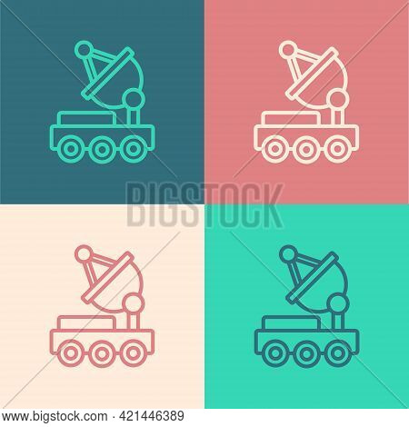 Pop Art Line Mars Rover Icon Isolated On Color Background. Space Rover. Moonwalker Sign. Apparatus F