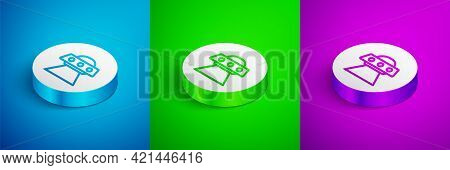 Isometric Line Ufo Flying Spaceship Icon Isolated On Blue, Green And Purple Background. Flying Sauce
