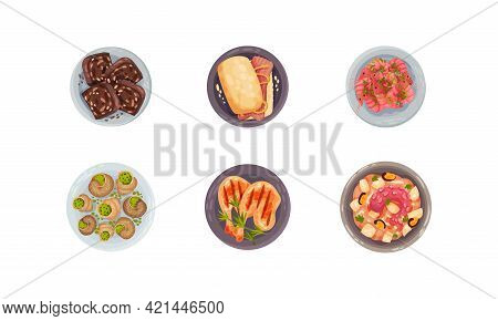 Portuguese Dishes And Main Courses With Stuffed Snails View From Above Vector Set