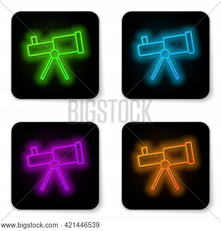 Glowing Neon Line Telescope Icon Isolated On White Background. Scientific Tool. Education And Astron