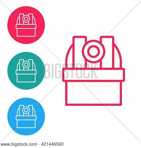 Red Line Astronomical Observatory Icon Isolated On White Background. Observatory With A Telescope. S