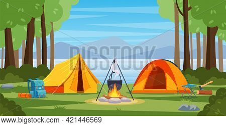 Summer Camp In Forest With Bonfire, Tent, Backpack. Cartoon Landscape With Mountain, Forest And Camp