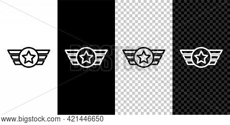 Set Line Star American Military Icon Isolated On Black And White, Transparent Background. Military B