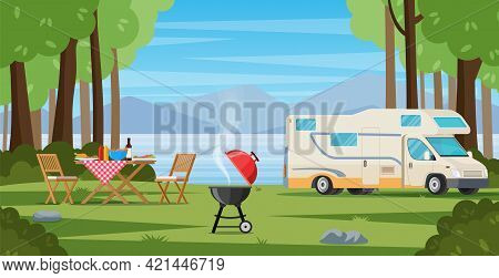 Camper With Barbecue Folding Table Deckchair. Summer Camping. Outdoor Nature Adventure, Active Touri